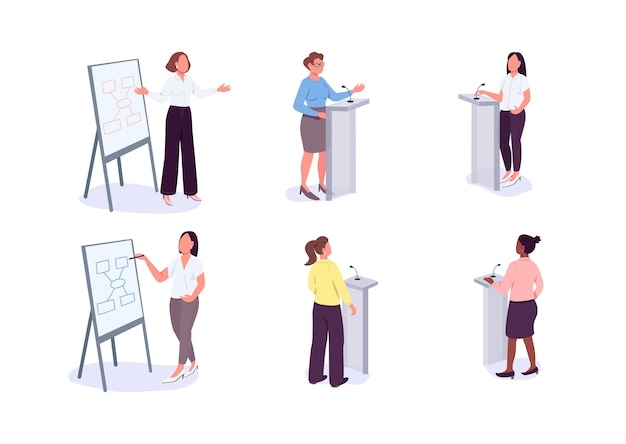 Women in leadership flat color faceless characters set