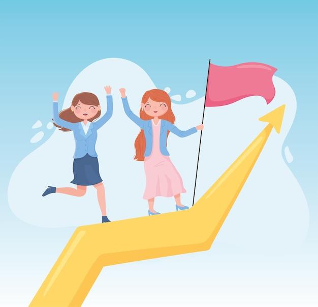 여성 리더십 함께 성공적인 비즈니스 플래그로 화살표 위로 올라