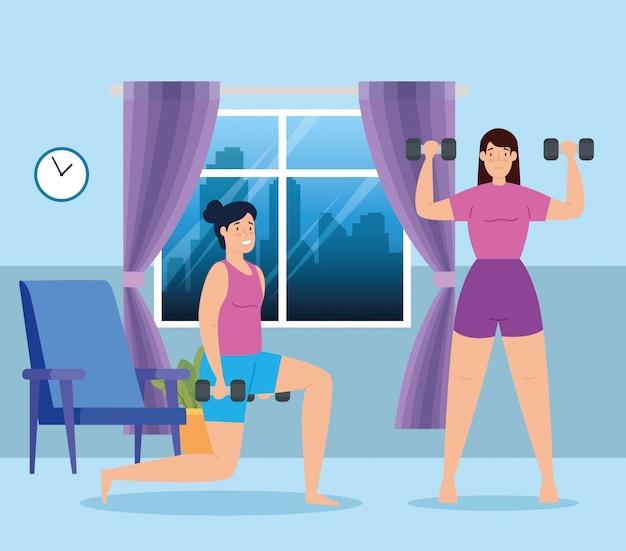 Женщины, поднятие тяжестей в доме дизайн векторные иллюстрации