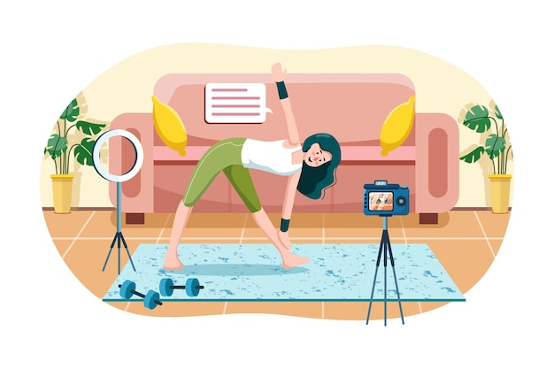 Women live streaming workout at home fitness