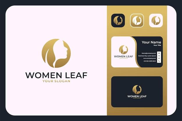 女性の豪華なゴールドのロゴデザインと名刺