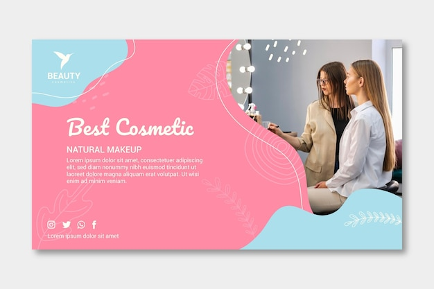 Women in a make-up studio banner template