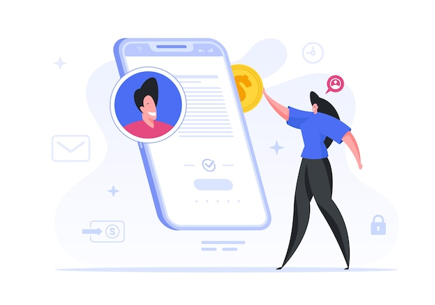 女性は有名なブロガーにオンラインで寄付をします。女性キャラクターがスマートフォンからデジタルウォレットを補充し、チャリティーに資金を寄付します。 web資金調達とクラウドファンディングのコンセプト