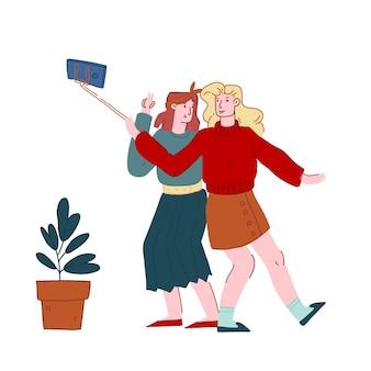 Women making selfie on mobile phone