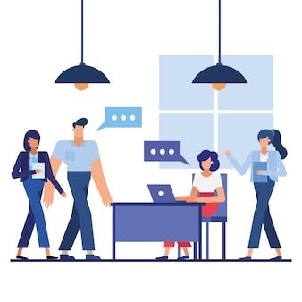 사무실 디자인, 비즈니스 개체 인력 및 기업 테마의 여성 남자와 책상