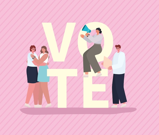 Women and man cartoons with vote placards and megaphone on pink background design, vote elections day and government theme.