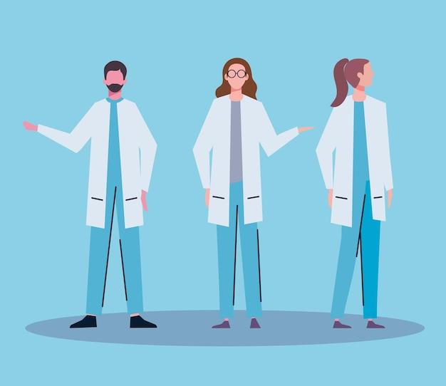Women and man doctor Premium Vector