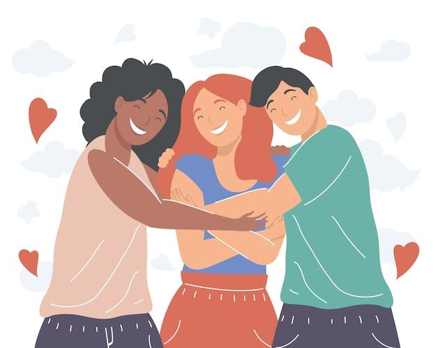 Women and man friends hugging
