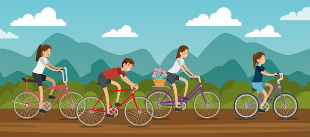 Women and man friends riding a bicycle