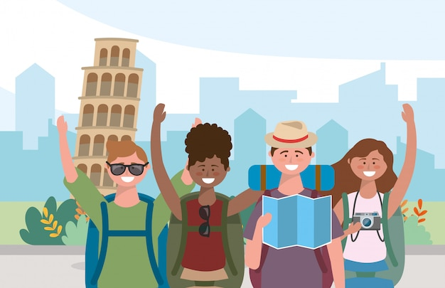 Women and man friends with backpack and global map