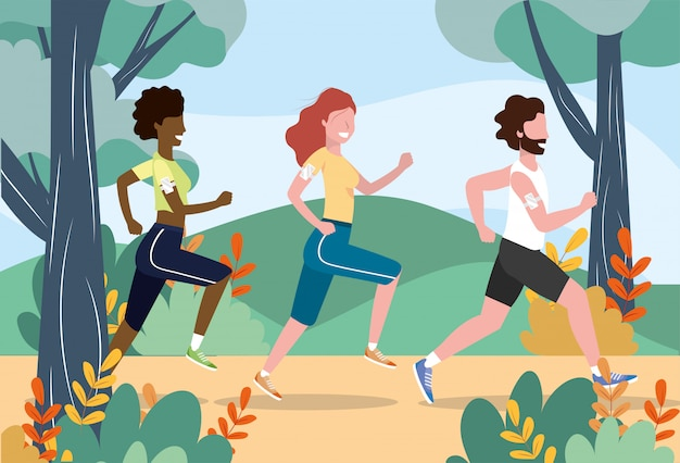 Women and man running practice exercise activity