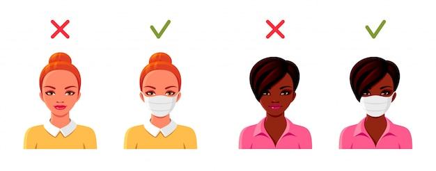 Women in medical masks. female avatars set. coronavirus illustration.