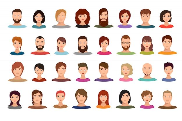 Women and men business people team  avatars male and female profile portraits isolated