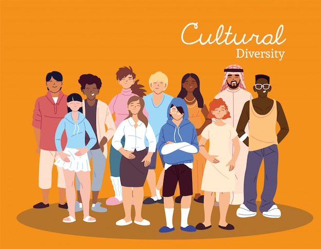 Women and men cartoons design, cultural and friendship diversity theme
