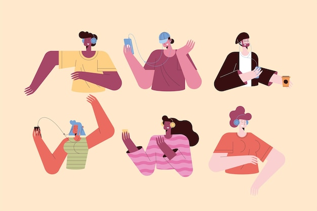 Women and men cartoons listening music symbol set