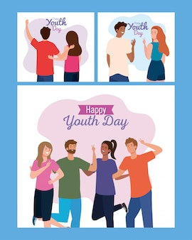Women and men cartoons smiling of happy youth day