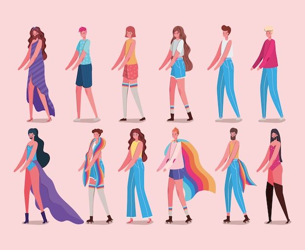 Women and men cartoons with costumes and lgtbi flags design