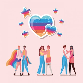 Women and men cartoons with costumes and lgtbi hearts design