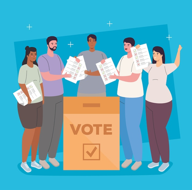 Women and men cartoons with vote box design, vote elections day and government