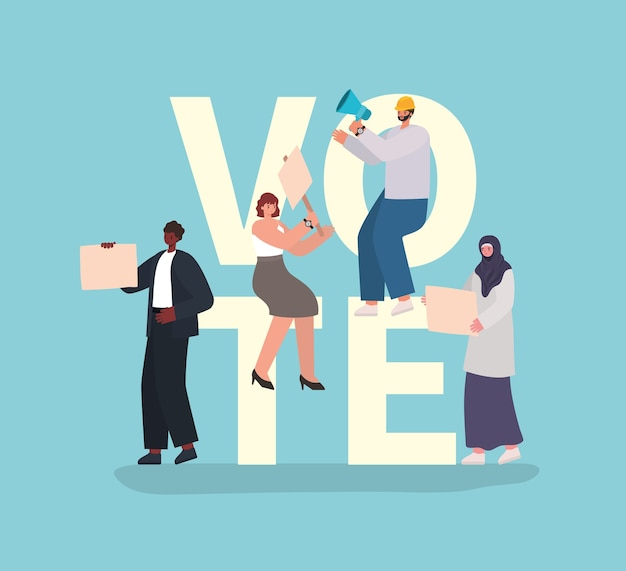 Women and men cartoons with vote placards and megaphone on blue background design, vote elections day theme.
