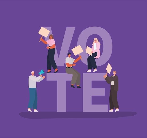 Women and men cartoons with vote placards and megaphone design, vote elections day