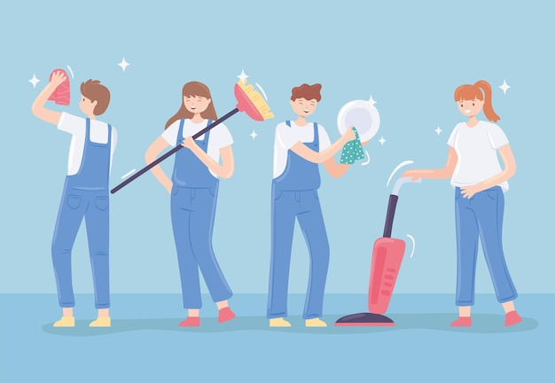 Women and men cleaning