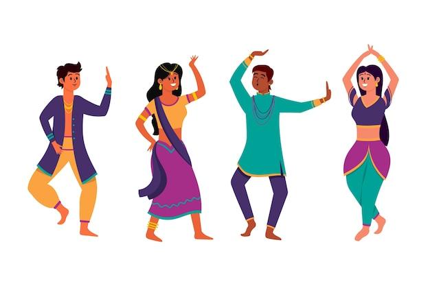 Donne e uomini che ballano in stile bollywood