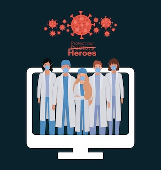 Women and men doctors heroes with uniforms and masks inside computer against 2019 ncov cov infection corona epidemic disease symptoms and medical theme vector illustration