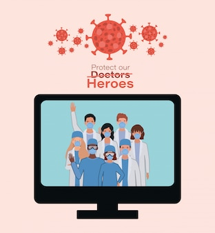 Women and men doctors heroes with uniforms and masks inside computer against 2019 ncov virus vector design