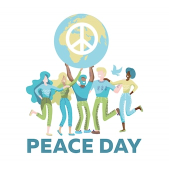Women and men holding planet with peace symbol. activist with globe faceless cartoon character. international peace day.