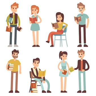Women and men reading books. people readers characters set.
