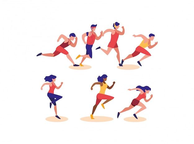 Women and men running