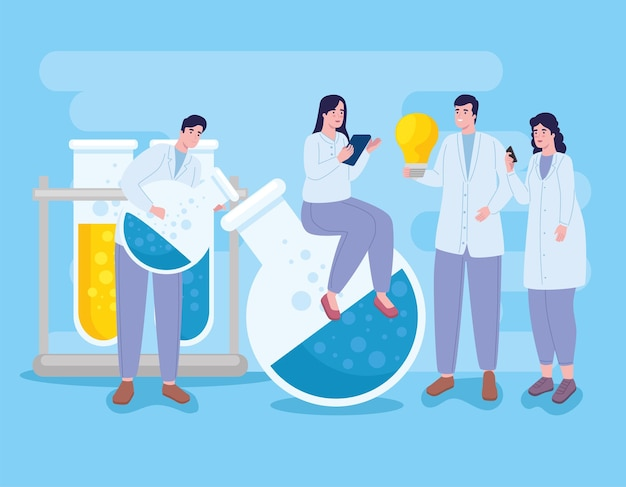 Women and men with laboratory icons