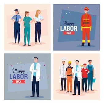 Women and men workers vector design
