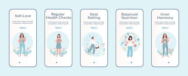 Women mental health onboarding mobile app screen flat template