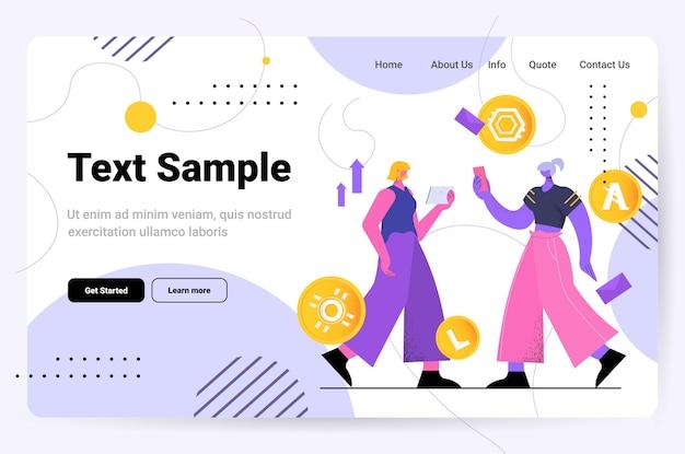 デジタルガジェットでさまざまな仮想通貨コインをマイニングする女性暗号通貨交換銀行取引投資