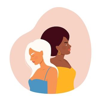 Женщины разных национальностей в плоском стиле