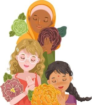 다양한 인종과 종교의 여성. 꽃을 들고 여자의 그룹입니다. 세계 여성의 날