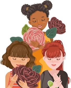 다른 인종의 여성. 꽃을 들고 여자의 그룹입니다. 여자 아이의 국제 날