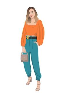 세련된 유행 옷을 입은 하이힐을 입은 여성 여성 패션 일러스트레이션