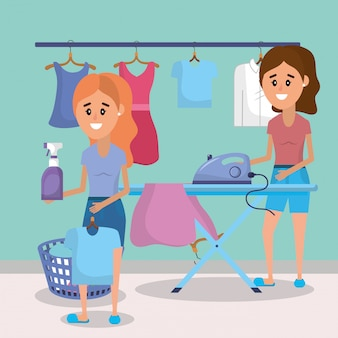 Women on laundry