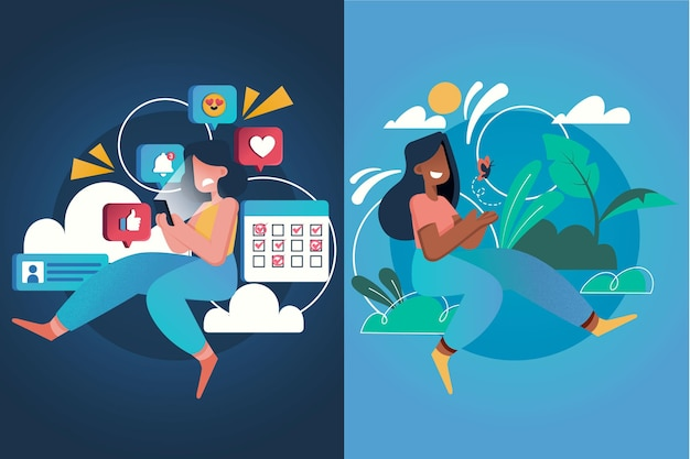 ソーシャルメディアの女性とリラックスしたfomo対jomoの概念
