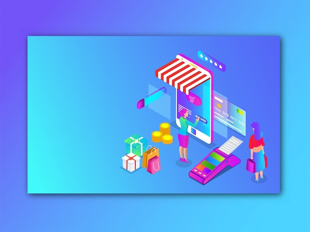 Women online shopping from smartphone isometric