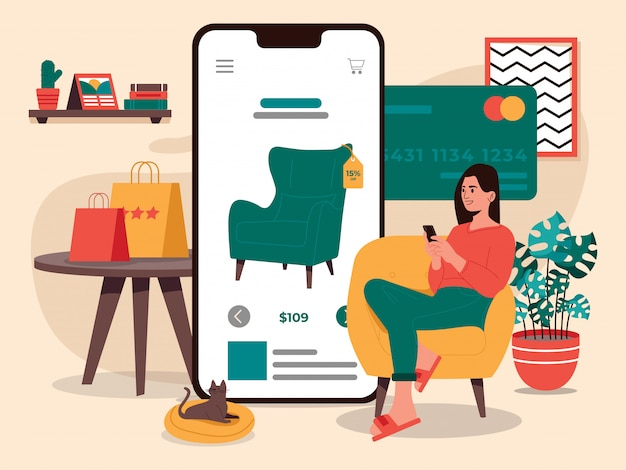 Women online shopping furniture illustration