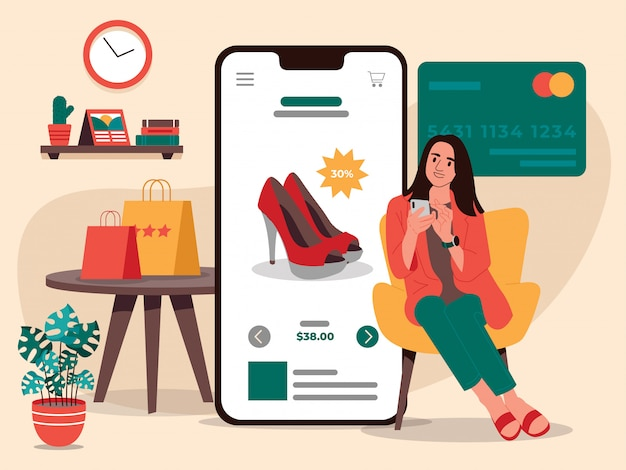 Women online shopping shoes illustration