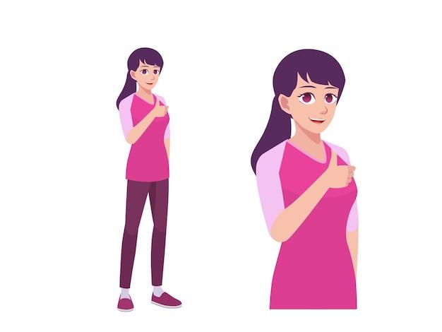 女性または女の子のように親指を立てる表現のポーズ漫画イラストに同意する