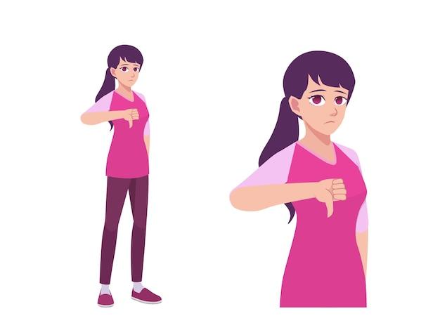 女性または女の子の親指ダウン嫌いと失望の表現ポーズ漫画イラスト