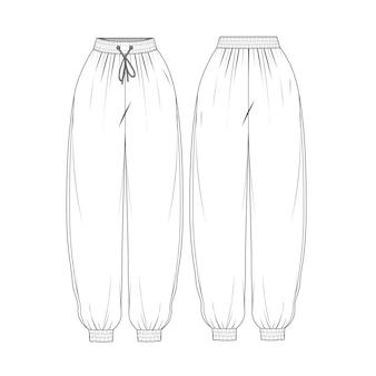 女性の特大パンツ スケッチ テンプレート画像