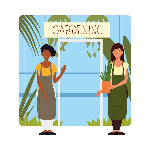 Women owners of the nursery standing at the door illustration