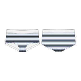 Women panties in blue stripes fabric isolated  . lady underpants technical sketch.